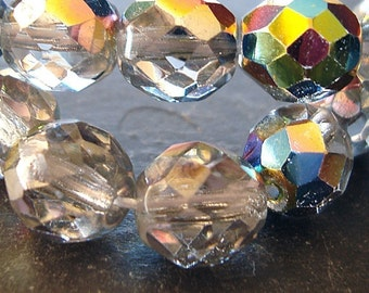 Czech Glass Beads 8mm Iridescent Clear AB Half Coated Vitrail Faceted Rounds - 10 Pieces
