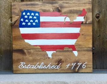 Wood Pallet United States Sign