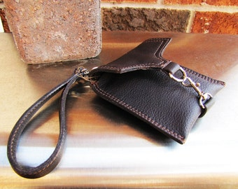 Dark Brown leather wristlet, small leather case, small iPhone case wallet, credit cards wallet, Custom to fit iPhone 6, 6s, 7, 8 and X