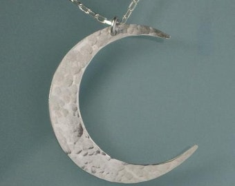 Crescent Moon Necklace, Silver Moon Necklace, Crescent Moon Pendant, Silver Crescent Moon Charm Necklace Hammered Silver Moon Brushed Silver