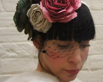 Summer rose garden fabric flower headpiece/fascinator/crown/garland birdcage veil Wedding bridal mother of the bride bridesmaid