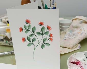 Original watercolor greeting card. One of a kind. Delicate red flowers. Can be personalized. Free shipping