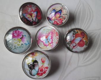 x 6 mixed snaps Butterfly/flower for A 20 mm silver glass round jewelry
