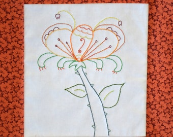 "PDF Stitchery Pattern ""Sunnystalk"" Flower Whimsical"