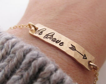 Brave 14kt Gold Bar Necklace Hand Stamped Jewelry
