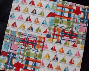 Sailboats and Plaid Patchwork Minky Security Blanket Lovey