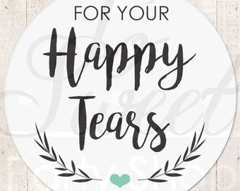 Wedding Favor Stickers, Happy Tears Stickers, Tissue Sticker, Wedding Labels, Tears Of Joy Stickers, Wedding Tears Labels - Set of 24