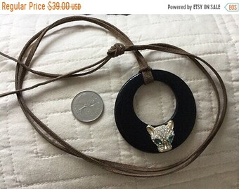 REDUCED 50% OFF crystal design panther pendant on  long leather cord necklace