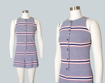 Vintage 1960s Romper   60s Striped Knit Playsuit Pin Up Summer Onesie (small/medium)