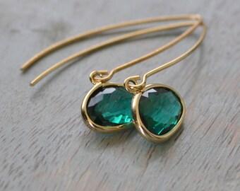 Green Glass Earrings, Emerald and Gold, Dark Green Earrings, Grass Green Wedding Jewelry, Dangle Earrings, Bridesmaid Earrings, Gift for Her