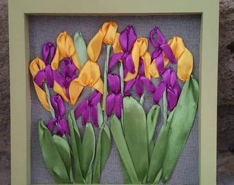 Iris Satin Ribbon Embroidery