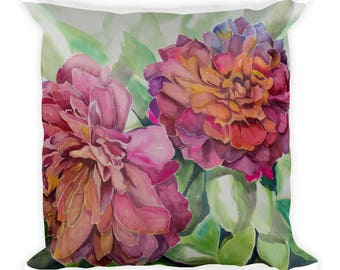 Two Flowers Square Pillow