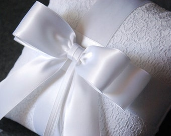 Ring Bearer Pillow - White Wedding Pillow with Lace Overlay and White Ribbon Bow - Katherine