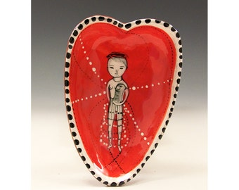 A Heart Bowl - Love Birds - Original One of a Kind Painting by Jenny Mendes in a Ceramic Pinched Heart Bowl