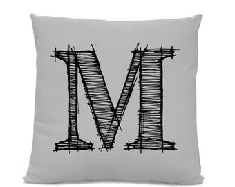 Initial Pillow - Letter Pillow - Pillow with Letter M - Monogrammed Pillow - Custom Throw Pillow