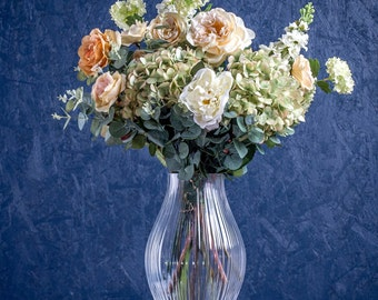 Cream, Green And Apricot Faux Flower Bouquet