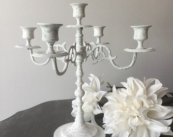 White, shabby chic, crackle painted, brass candelabra