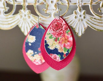 Mothers Day gifts! Floral/ Spring leather earrings in pink and navy. FREE SHIPPING