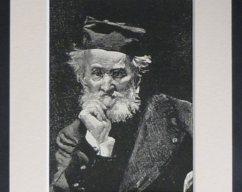 1880s Antique Leon Bonnat Print of Leon Cogniet, Available Framed, French Art, Teacher Gift, Victorian Artist Portrait Bearded Old Man Decor