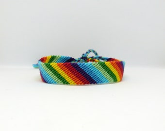 Rainbow Bracelet - Candy Stripe - Hand Woven - Cotton - Adjustable - Hippy Wristband - Beach Jewelry - Unique Gift - One Of a Kind