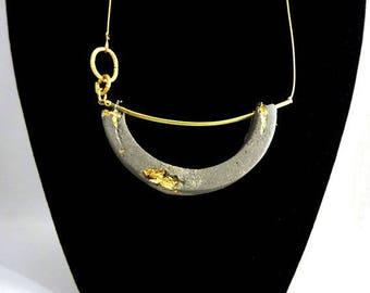"Concrete jewelry contemporary ""Atourne remnant"" pendant necklace."