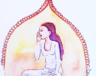 Yoga girl watercolor illustration flat note card