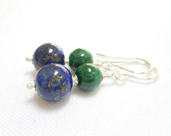 Lapis Lazuli and Malachite Earrings, Sterling Silver Genuine Gemstone Jewelry, Navy Blue and Emerald Green Stone Beaded Dangle Earrings