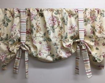 Floral window valance, pink floral valance, girls valance, powder room valance, laundry room valance, girls nursery valance