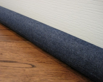 CUSTOM length draft stopper, denim door draft snake, draft dodger. Dark denim fabric.