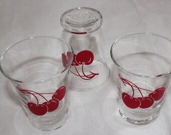 Vintage Cherry Juice Glasses, Set of Three, Juice Glass, Libbey Glasses, Cherry, Cherries, Cherry Juice Glass