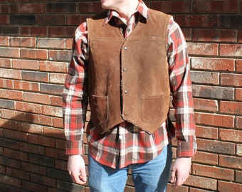 Men's Vintage Leather Vest with Wool Lining