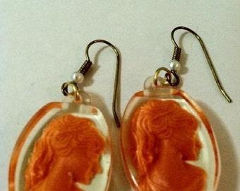 Cameo Earrings Lady Of Autumn Orange Intaglios