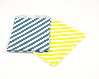 Blue and Yellow Treat Bags - Set of 25 - Paper Treat Bags - Party Favor