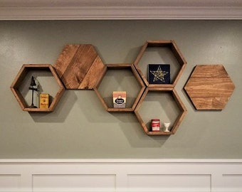 Flat Hexagon, Flat Hexagons, Geometric Wall Decor