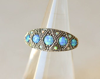 Blue Opal Ring October Birthstone Sterling Silver Ring Size 6