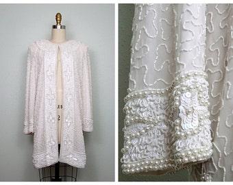 Vintage Pearl Beaded Long Jacket // White Sequined Beaded Dress Coat // Formal Wedding Jacket - as is!