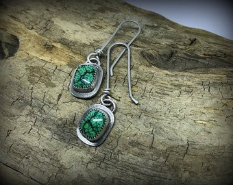 Hubei Turquoise Sterling Silver Dangle Earrings