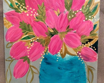Original Pink Tulip Flower Painting