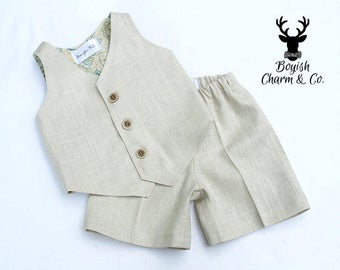 The Avery Boys Linen Suit, Ring Bearer Outfit, Formal Wear, Boys Natural Linen Suit, Vest and Shorts,  Baptism Outfit, White, Natural, Brown