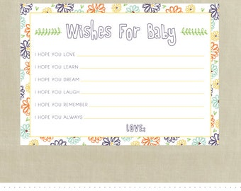 Wishes for Baby Cards - Printable - INSTANT Download - Baby Shower - Boho Floral Sketch