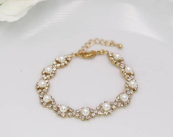 Pearl Wedding Bracelet, Gold Rhinestone pearl bracelet, crystal ivory white pearl bracelet, bridal jewelry, Becca Pearl Gold Bracelet