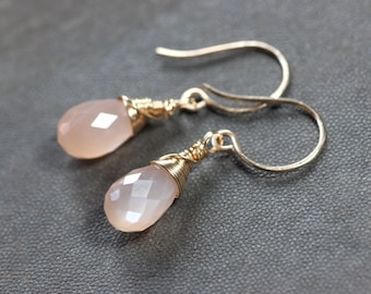 Peach Moonstone Earrings Gold Wire Wrapped Earrings Pink Gemstone Earrings Moonstone Jewelry