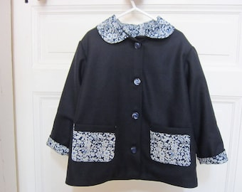 jacket girl flannel lined blue wool broadcloth