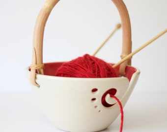 Handled Red Ceramic Yarn Bowl, Knitting Bowl, Crochet Bowl, Red and White Yarn Bowl, Made to Order