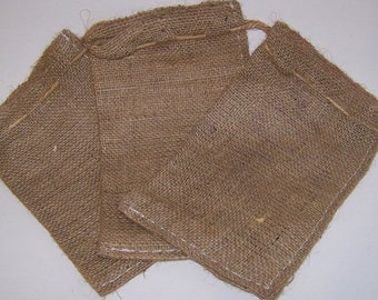 ON SALE 4 Mini Burlap Bags for Sewing Crafts