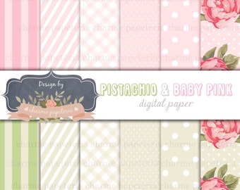 SALE Pistachio and light pink paper, rose paper, floral paper, rose and Pistachio paper