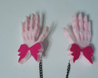 Skeleton Hands, Sweater Clips, Dress Clips, Cardigan Clips, Sweater Guard, Pastel Goth Jewelry, Creepy Cute Jewelry, Alternative Jewelry