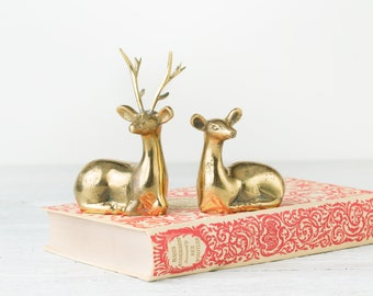 2 Vintage Brass Deer - Deer Figurines - Brass Animal Statues - Mid Century Deer - Gold Animals - Deer Pair