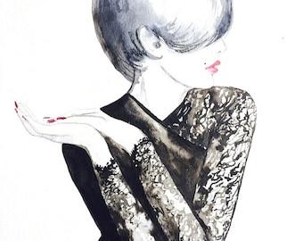 Noir Romantic Watercolor Art Print - Fashion Illustration by Lana Moes - Fashion Painting - Edgy Art Print - office Decor - Black and white