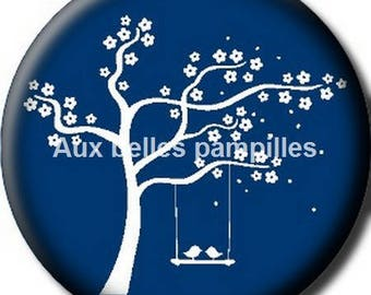 Round cabochon resin 25 mm - blue and white tree stick (1256) - tree of life, bird